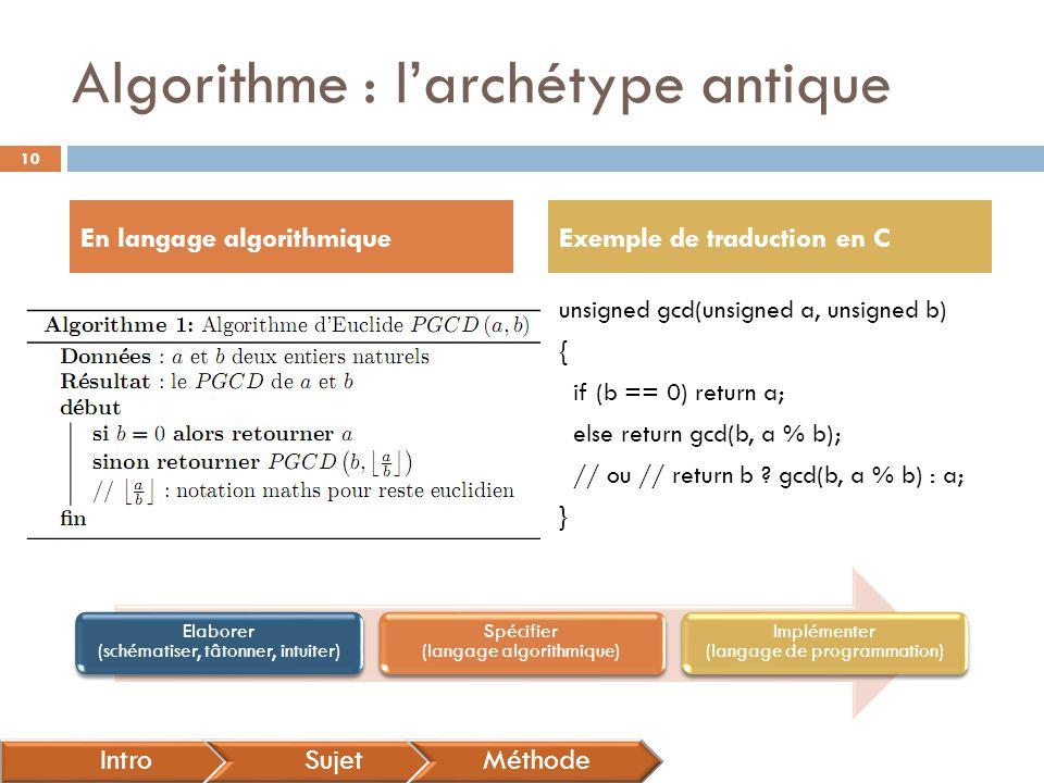 Algorithme : l'archétype antique En langage algorithmiqueExemple de traduction en C IntroSujetMéthode unsigned gcd(unsigned a, unsigned b) { if (b ==