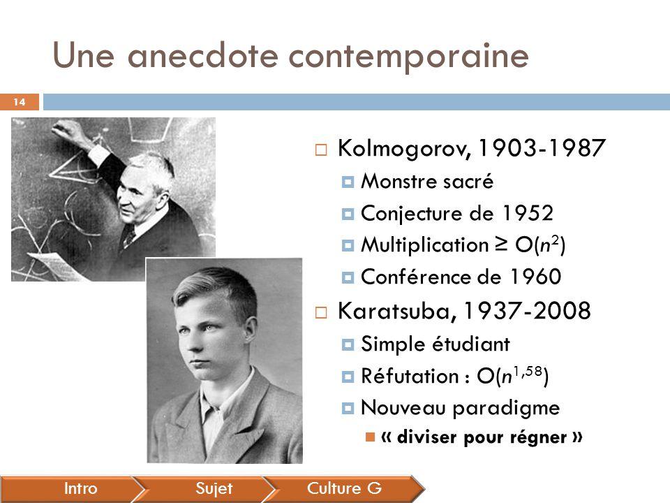 Une anecdote contemporaine IntroSujetCulture G  Kolmogorov, 1903-1987  Monstre sacré  Conjecture de 1952  Multiplication ≥ O(n 2 )  Conférence de