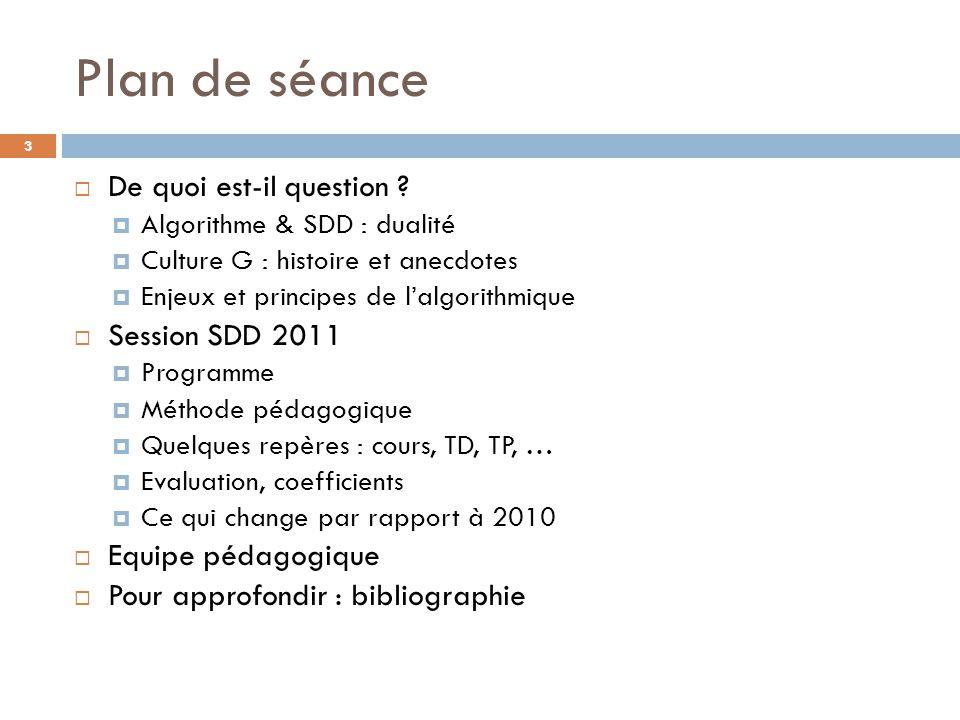 Plan de séance  De quoi est-il question ?  Algorithme & SDD : dualité  Culture G : histoire et anecdotes  Enjeux et principes de l'algorithmique 