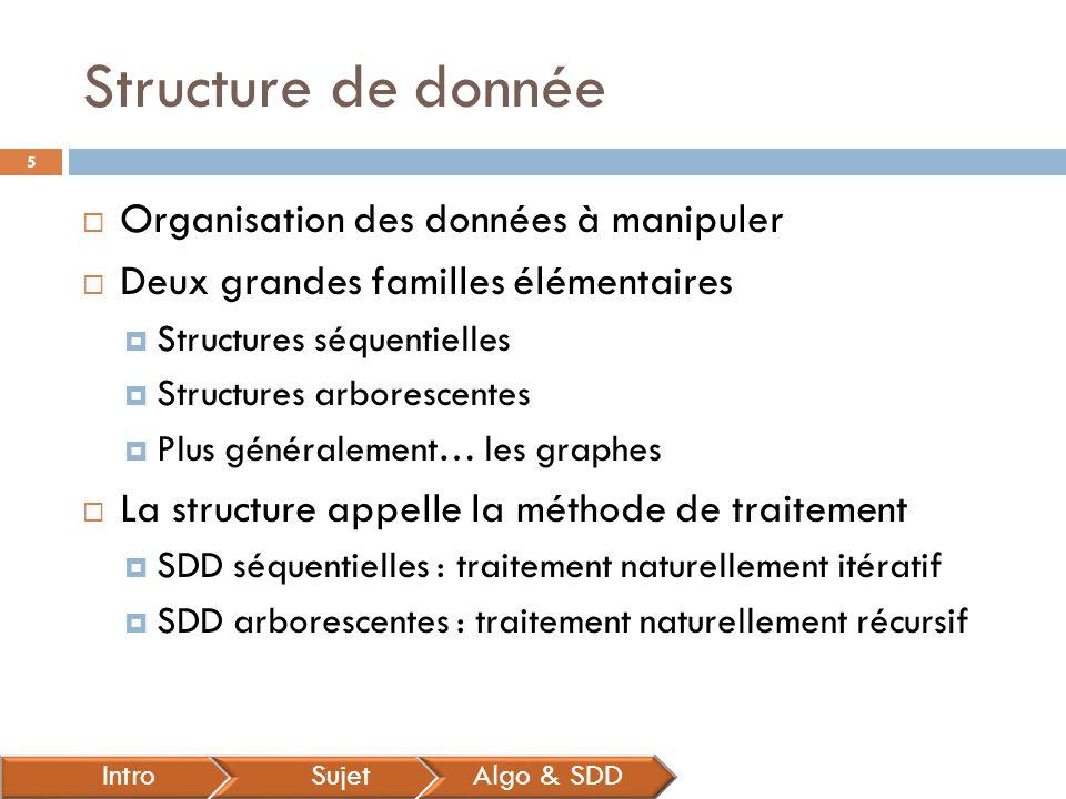 Structure de donnée  Organisation des données à manipuler  Deux grandes familles élémentaires  Structures séquentielles  Structures arborescentes