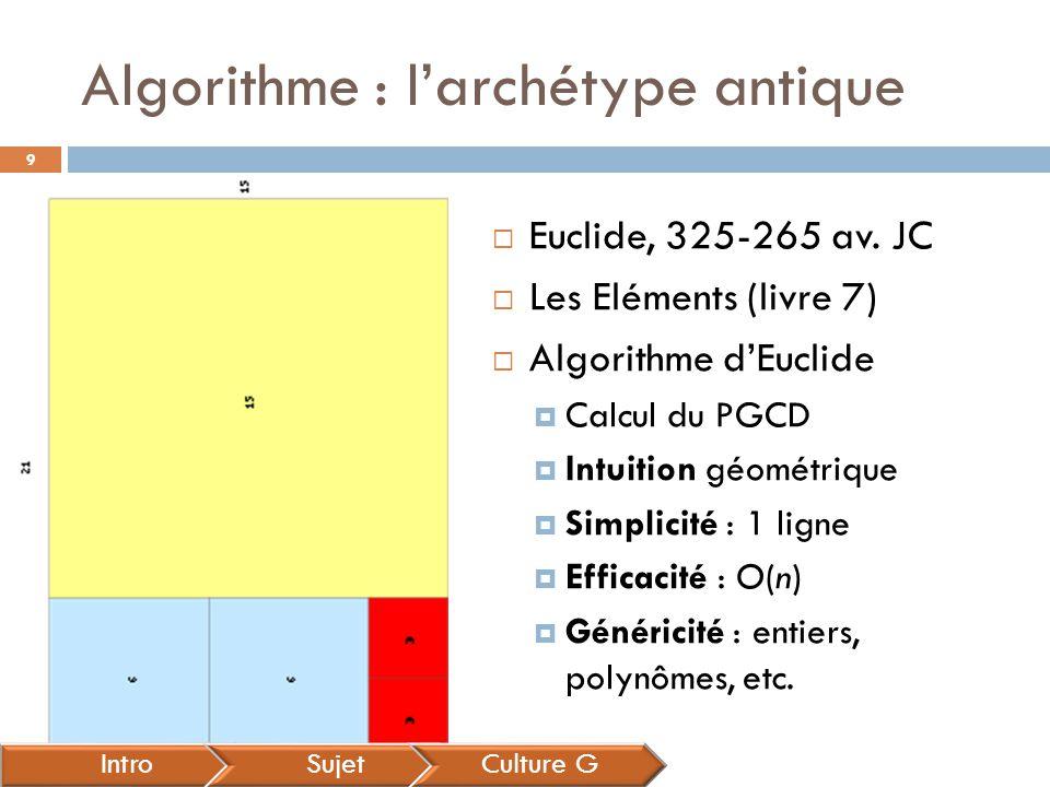 Algorithme : l'archétype antique IntroSujetCulture G  Euclide, 325-265 av. JC  Les Eléments (livre 7)  Algorithme d'Euclide  Calcul du PGCD  Intu