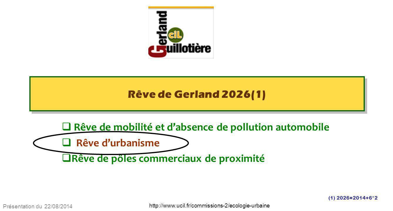 Présentation du 22/08/2014 http://www.ucil.fr/commissions-2/ecologie-urbaine Rêve de Gerland 2026(1)  Rêve de mobilité et d'absence de pollution auto