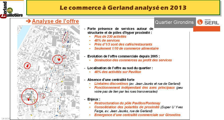 Le 22/08/2014 http://www.ucil.fr/commissions-2/ecologie-urbaine Le commerce à Gerland analysé en 2013