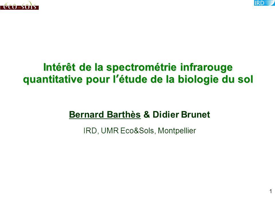 Intérêt de la spectrométrie infrarouge quantitative pour l'étude de la biologie du sol Bernard Barthès & Didier Brunet IRD, UMR Eco&Sols, Montpellier