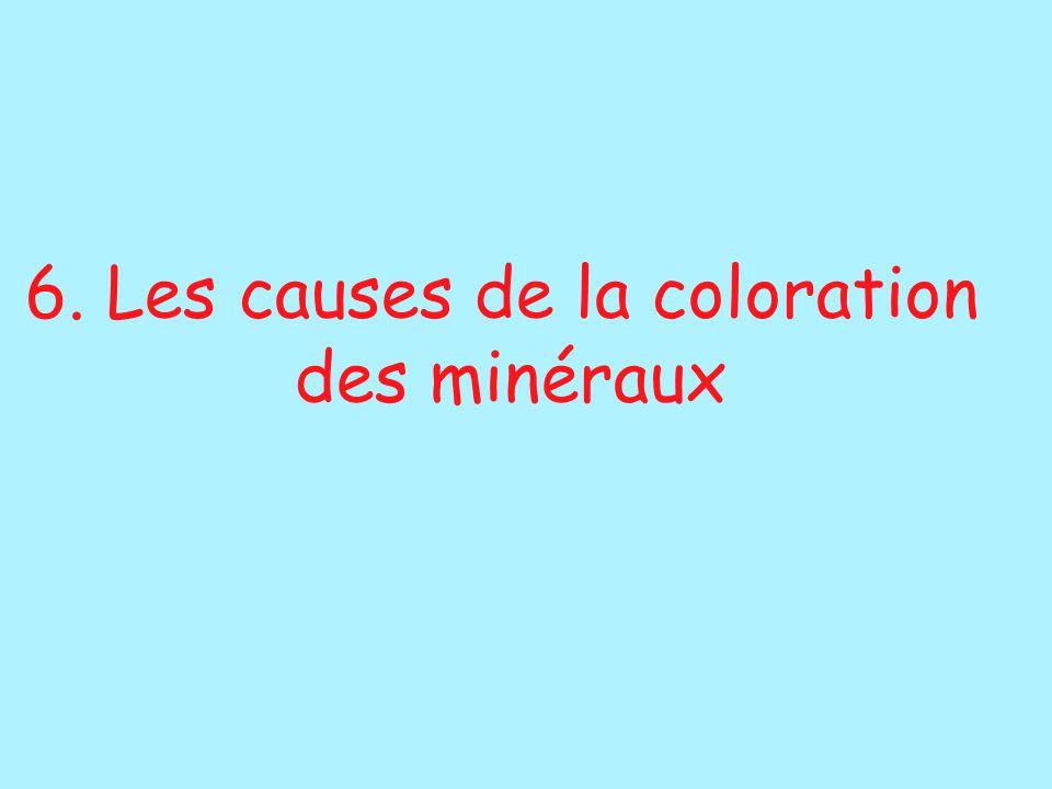 6. Les causes de la coloration des minéraux