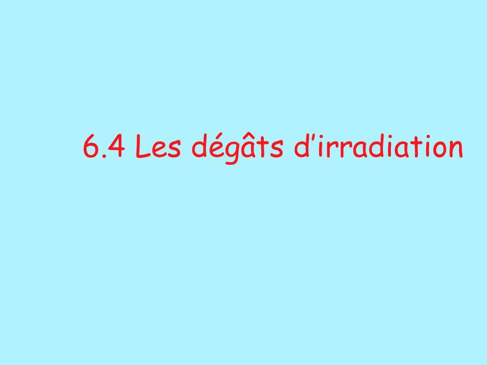 6.4 Les dégâts d'irradiation