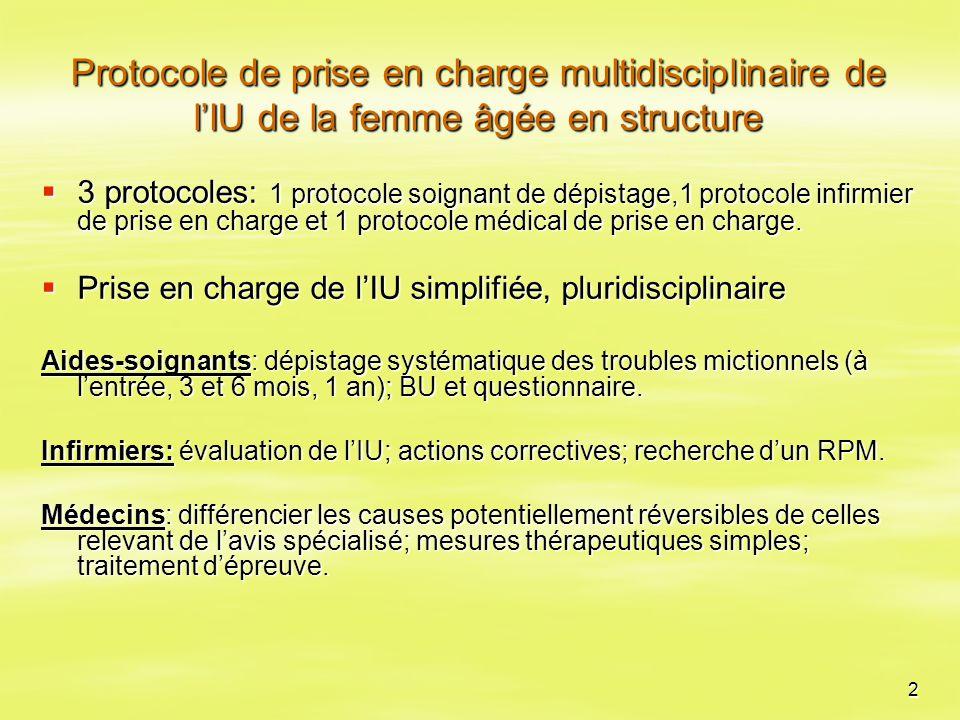 2 Protocole de prise en charge multidisciplinaire de l'IU de la femme âgée en structure  3 protocoles: 1 protocole soignant de dépistage,1 protocole