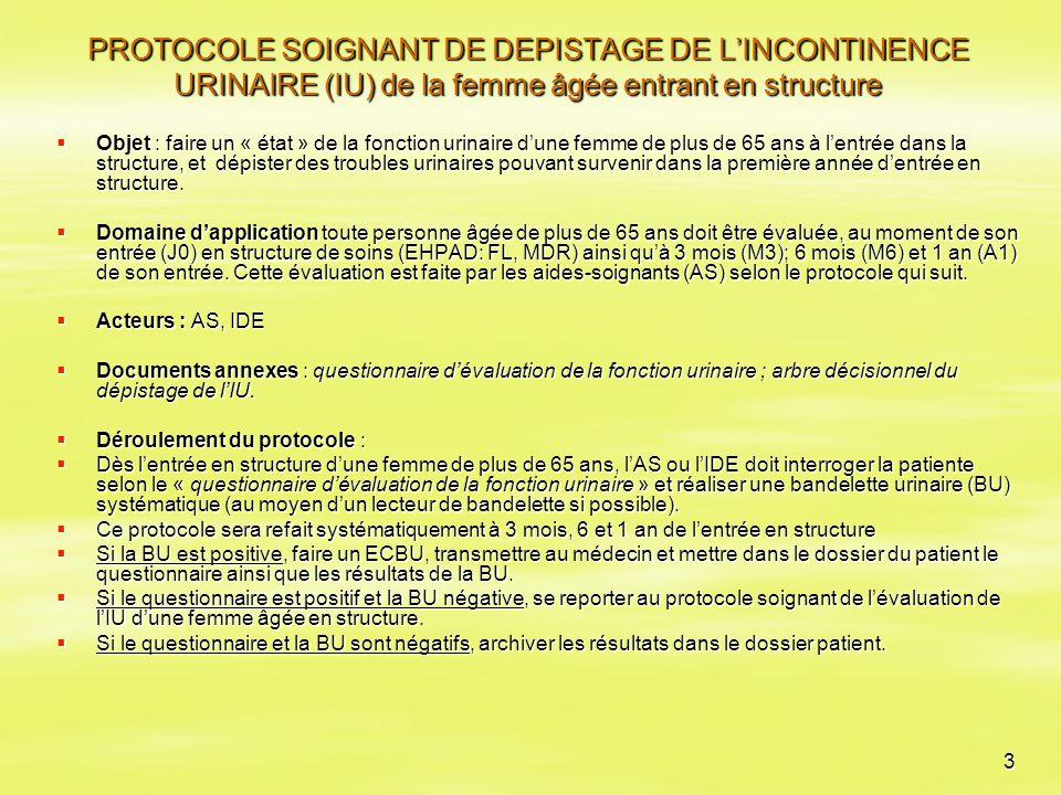 3 PROTOCOLE SOIGNANT DE DEPISTAGE DE L'INCONTINENCE URINAIRE (IU) de la femme âgée entrant en structure  Objet : faire un « état » de la fonction uri
