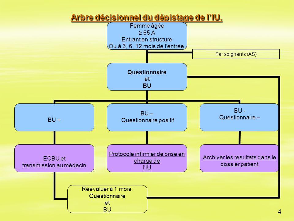 4 Arbre décisionnel du dépistage de l'IU. Par soignants (AS)