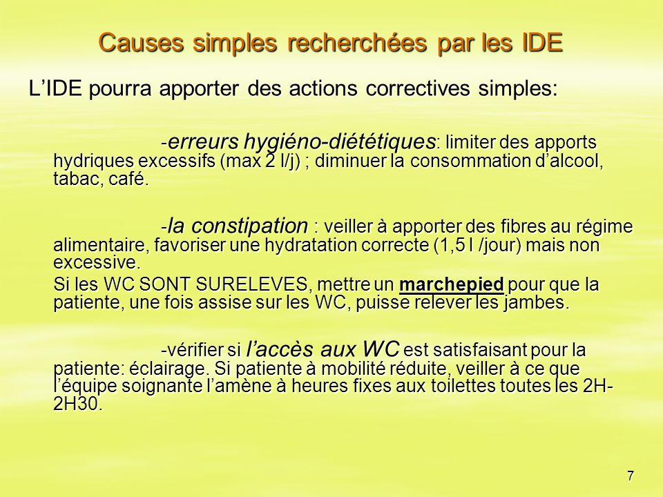 7 Causes simples recherchées par les IDE L'IDE pourra apporter des actions correctives simples: - erreurs hygiéno-diététiques : limiter des apports hy
