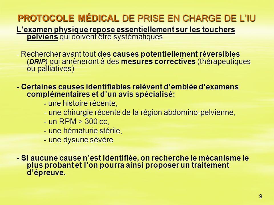 9 PROTOCOLE MÉDICAL DE PRISE EN CHARGE DE L'IU L'examen physique repose essentiellement sur les touchers pelviens qui doivent être systématiques - Rec