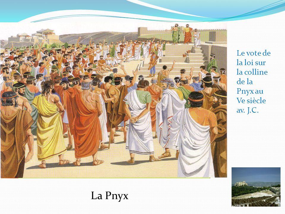 Le vote de la loi sur la colline de la Pnyx au Ve siècle av. J.C. La Pnyx