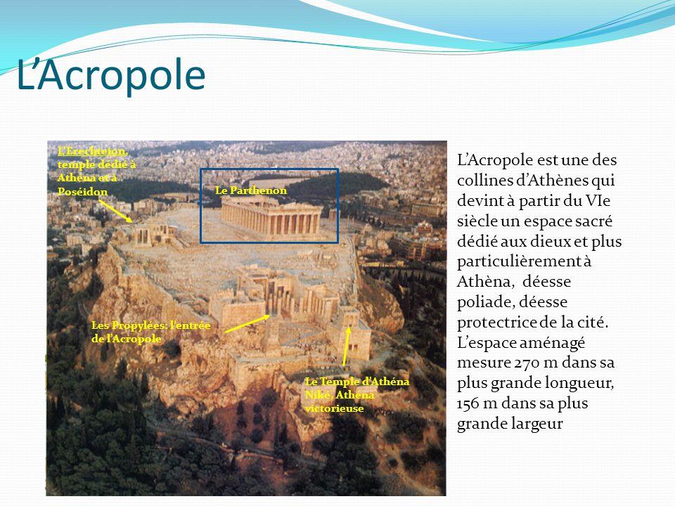 L'Acropole L'Acropole est une des collines d'Athènes qui devint à partir du VIe siècle un espace sacré dédié aux dieux et plus particulièrement à Athè