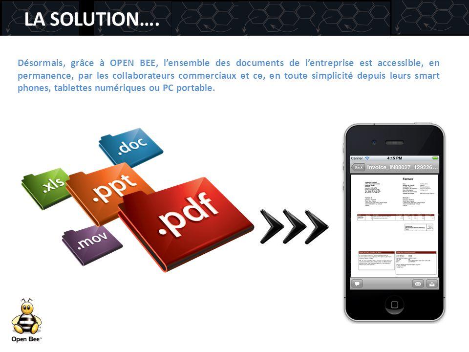 LA SOLUTION…. Désormais, grâce à OPEN BEE, l'ensemble des documents de l'entreprise est accessible, en permanence, par les collaborateurs commerciaux