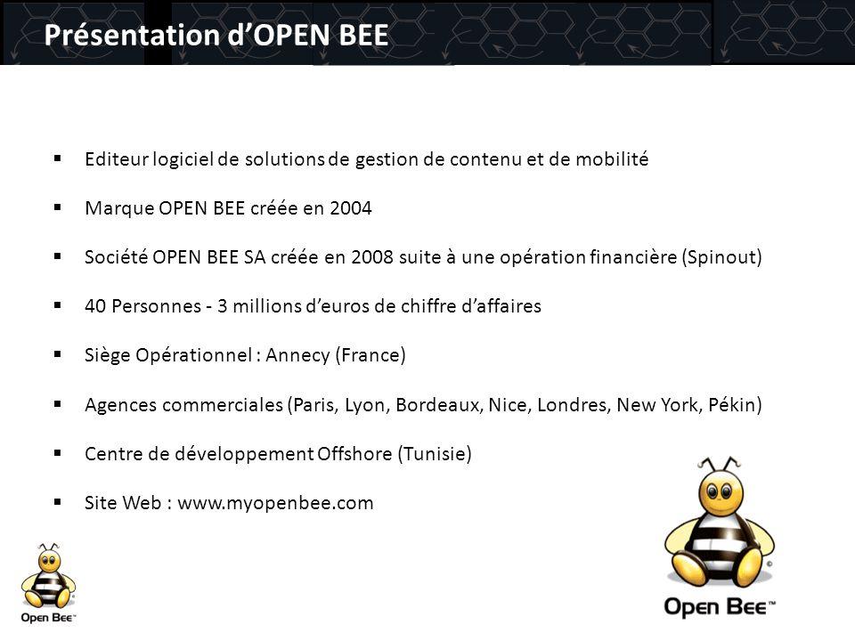 Editeur logiciel de solutions de gestion de contenu et de mobilité  Marque OPEN BEE créée en 2004  Société OPEN BEE SA créée en 2008 suite à une o