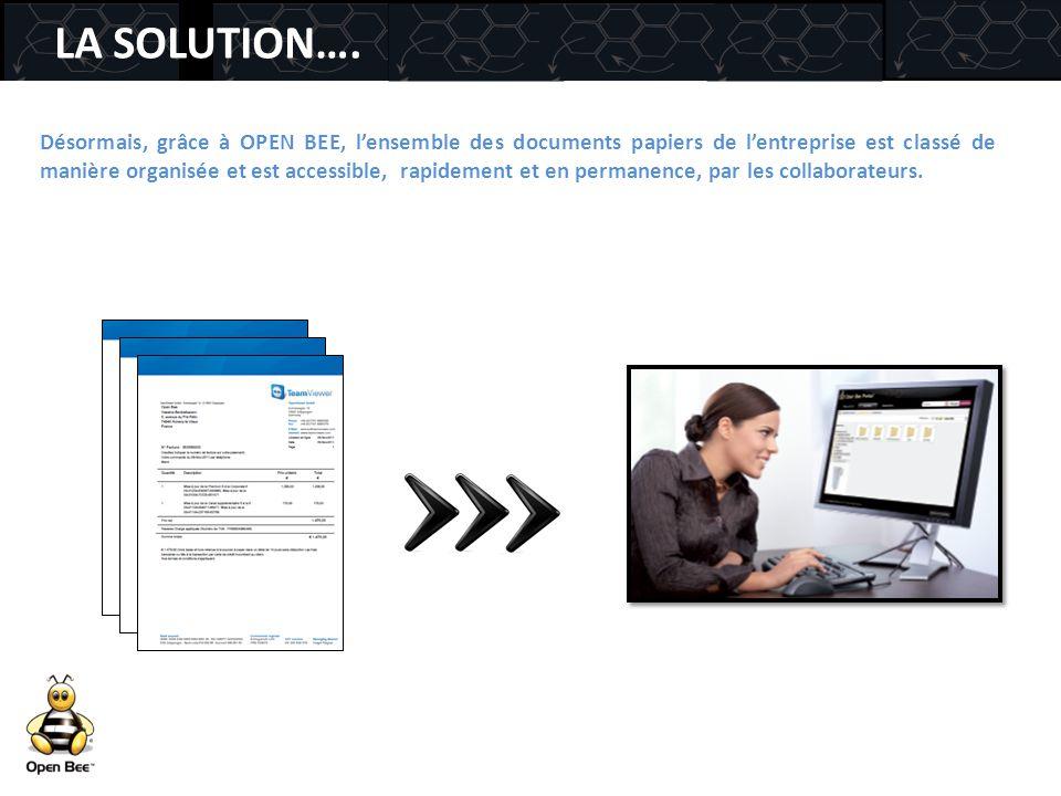 LA SOLUTION…. Désormais, grâce à OPEN BEE, l'ensemble des documents papiers de l'entreprise est classé de manière organisée et est accessible, rapidem