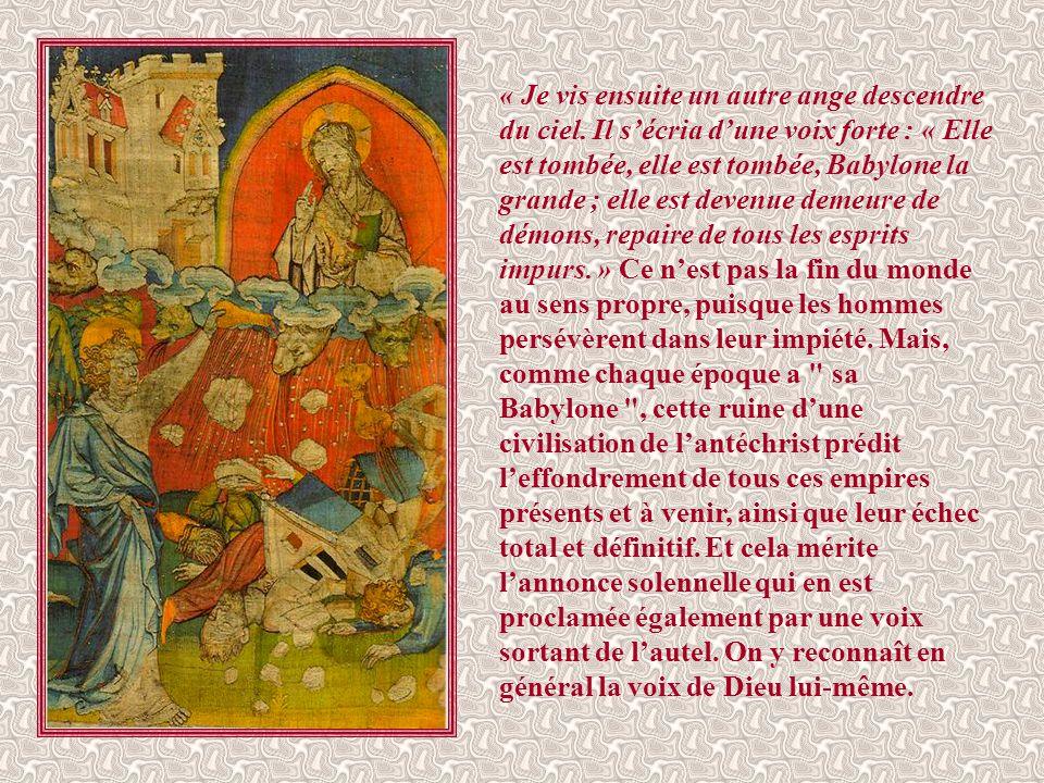 Après un intermède de paix, « l'un des quatre animaux donna aux sept anges des coupes d'or, remplies de la colère de Dieu. » Ces fléaux reprennent, co