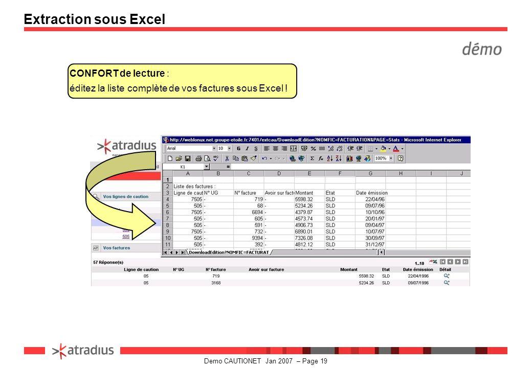 Demo CAUTIONET Jan 2007 – Page 19 CONFORT de lecture : éditez la liste complète de vos factures sous Excel .