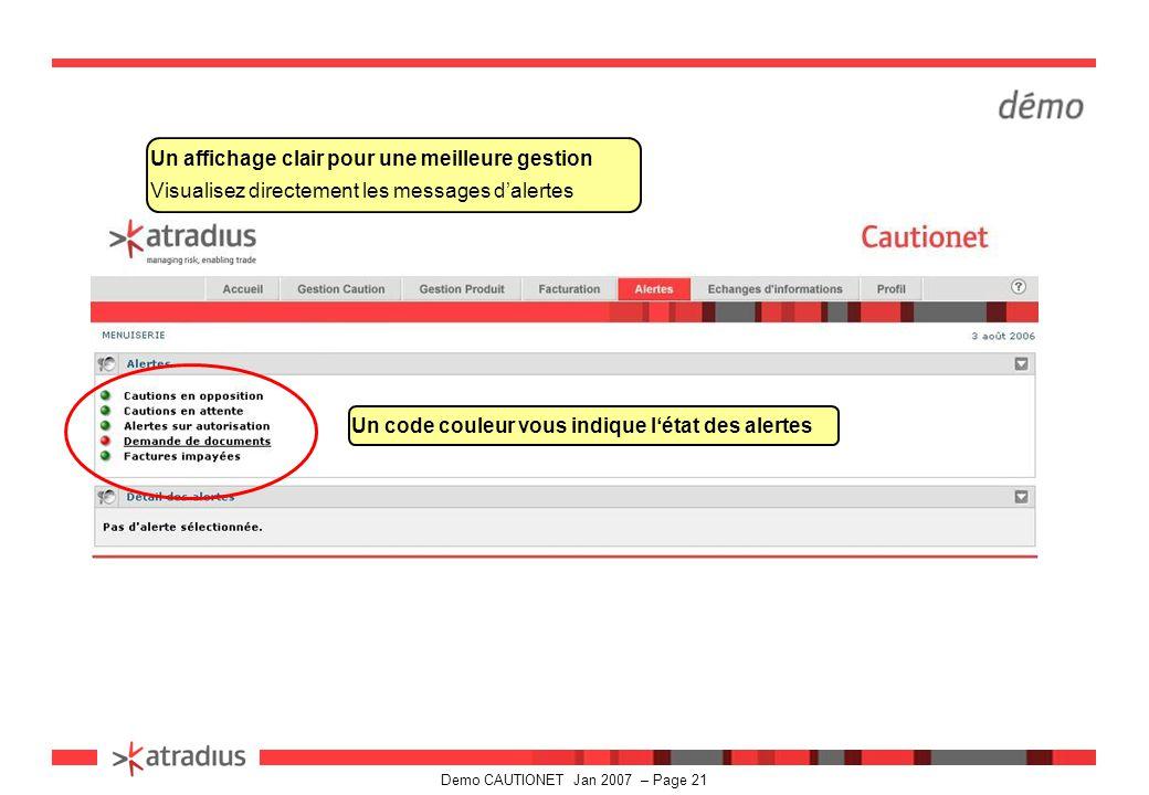 Demo CAUTIONET Jan 2007 – Page 21 Un affichage clair pour une meilleure gestion Visualisez directement les messages d'alertes Un code couleur vous indique l'état des alertes