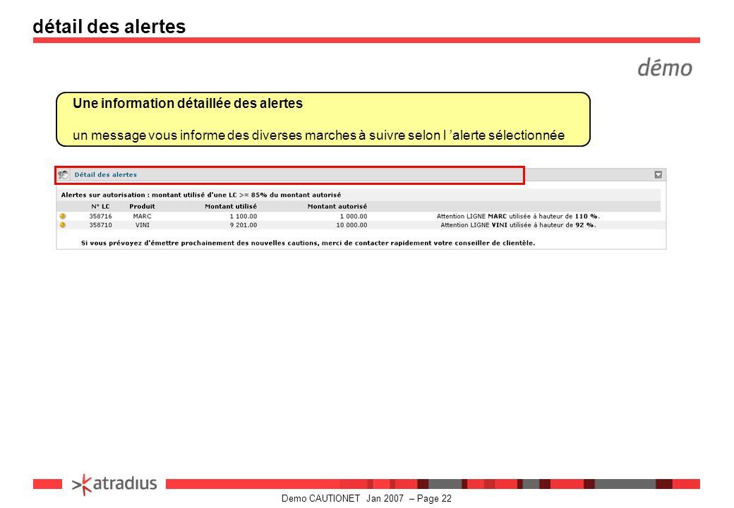 Demo CAUTIONET Jan 2007 – Page 22 détail des alertes Une information détaillée des alertes un message vous informe des diverses marches à suivre selon l 'alerte sélectionnée
