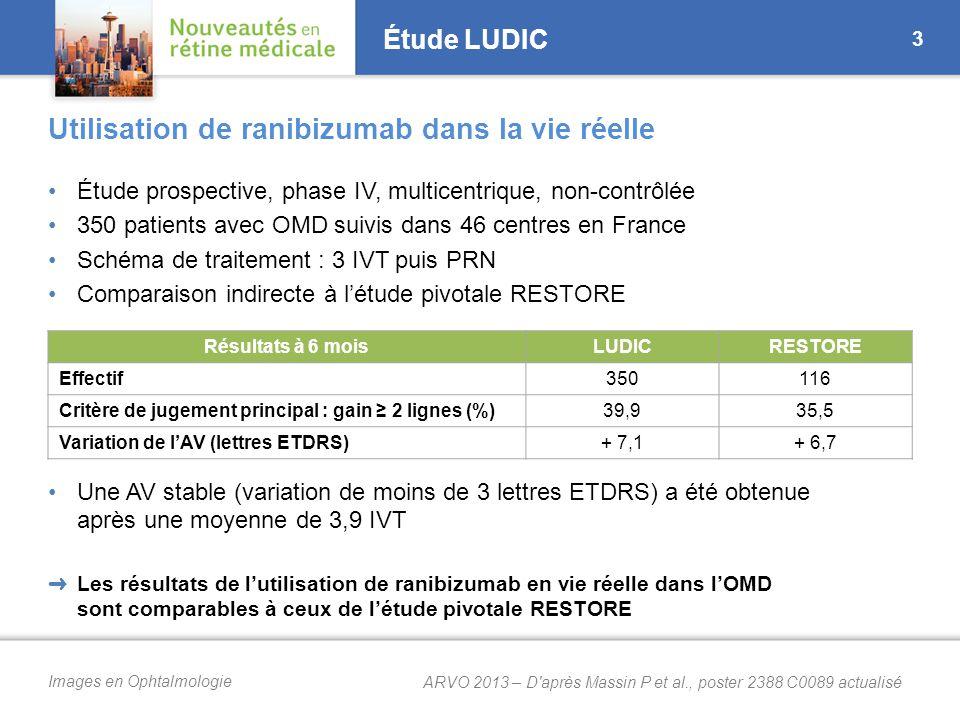 Images en Ophtalmologie Étude LUDIC 3 Utilisation de ranibizumab dans la vie réelle ➜ Les résultats de l'utilisation de ranibizumab en vie réelle dans