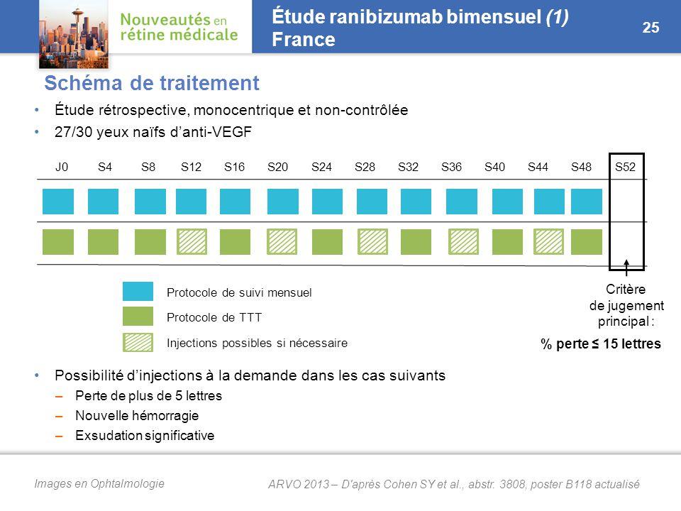 Images en Ophtalmologie Étude rétrospective, monocentrique et non-contrôlée 27/30 yeux naïfs d'anti-VEGF Possibilité d'injections à la demande dans les cas suivants –Perte de plus de 5 lettres –Nouvelle hémorragie –Exsudation significative Étude ranibizumab bimensuel (1) France 25 Protocole de suivi mensuel Protocole de TTT Injections possibles si nécessaire J0S4S8S12S16S20S24S28S32S36S40S44S48S52 Critère de jugement principal : % perte ≤ 15 lettres Schéma de traitement ARVO 2013 – D après Cohen SY et al., abstr.