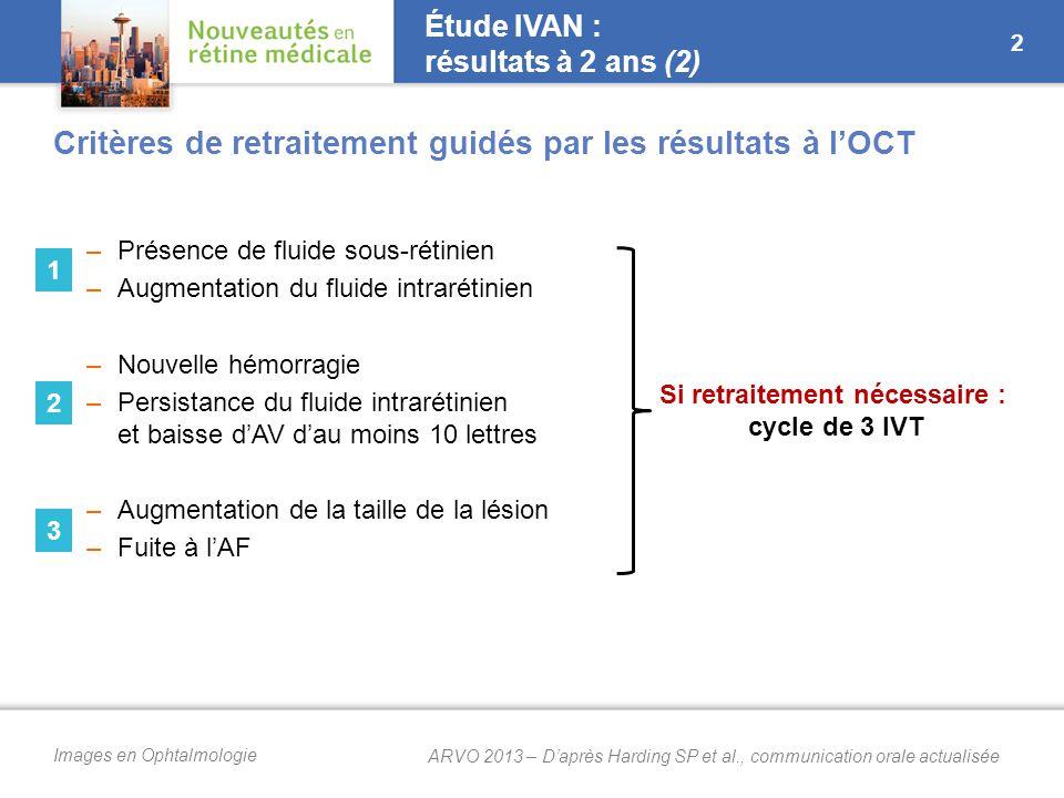 Images en Ophtalmologie Étude IVAN : résultats à 2 ans (2) –Présence de fluide sous-rétinien –Augmentation du fluide intrarétinien –Nouvelle hémorragie –Persistance du fluide intrarétinien et baisse d'AV d'au moins 10 lettres –Augmentation de la taille de la lésion –Fuite à l'AF 2 Si retraitement nécessaire : cycle de 3 IVT 1 2 3 Critères de retraitement guidés par les résultats à l'OCT ARVO 2013 – D'après Harding SP et al., communication orale actualisée