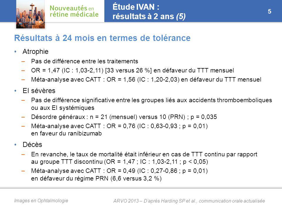 Images en Ophtalmologie Étude IVAN : résultats à 2 ans (5) Atrophie –Pas de différence entre les traitements –OR = 1,47 (IC : 1,03-2,11) [33 versus 26 %] en défaveur du TTT mensuel –Méta-analyse avec CATT : OR = 1,56 (IC : 1,20-2,03) en défaveur du TTT mensuel EI sévères –Pas de différence significative entre les groupes liés aux accidents thromboemboliques ou aux EI systémiques –Désordre généraux : n = 21 (mensuel) versus 10 (PRN) ; p = 0,035 –Méta-analyse avec CATT : OR = 0,76 (IC : 0,63-0,93 ; p = 0,01) en faveur du ranibizumab Décès –En revanche, le taux de mortalité était inférieur en cas de TTT continu par rapport au groupe TTT discontinu (OR = 1,47 ; IC : 1,03-2,11 ; p < 0,05) –Méta-analyse avec CATT : OR = 0,49 (IC : 0,27-0,86 ; p = 0,01) en défaveur du régime PRN (6,6 versus 3,2 %) Résultats à 24 mois en termes de tolérance 5 ARVO 2013 – D'après Harding SP et al., communication orale actualisée