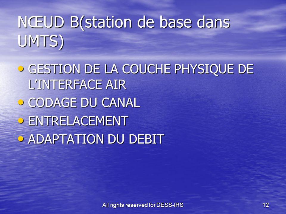 All rights reserved for DESS-IRS12 NŒUD B(station de base dans UMTS) GESTION DE LA COUCHE PHYSIQUE DE L'INTERFACE AIR GESTION DE LA COUCHE PHYSIQUE DE
