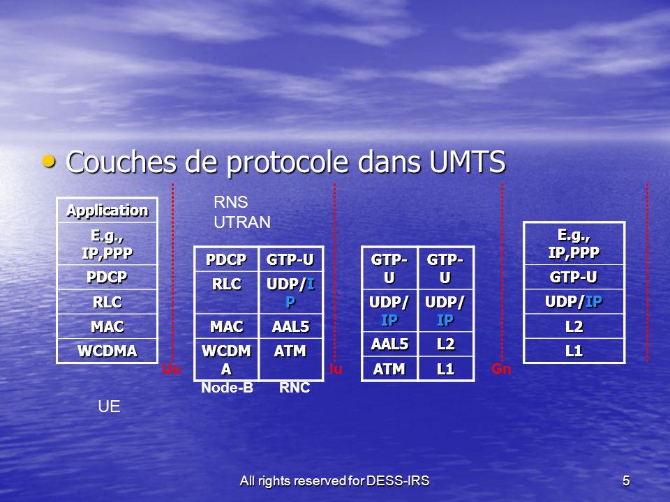 All rights reserved for DESS-IRS5 Couches de protocole dans UMTS Couches de protocole dans UMTS PDCPGTP-U RLC UDP/I P MACAAL5 WCDM A ATM GTP- U UDP/ IP AAL5L2 ATML1 Node-B RNCApplication E.g., IP,PPP PDCP RLC MAC WCDMA GTP-U UDP/IP L2 L1 UuIuGnPDCPGTP-URLC UDP/I P MACAAL5 WCDM A ATM GTP- U UDP/ IP AAL5L2 ATML1 Application E.g., IP,PPP PDCP RLC MAC WCDMA GTP-U UDP/IP L2 L1 UuIuGn UE RNS UTRAN