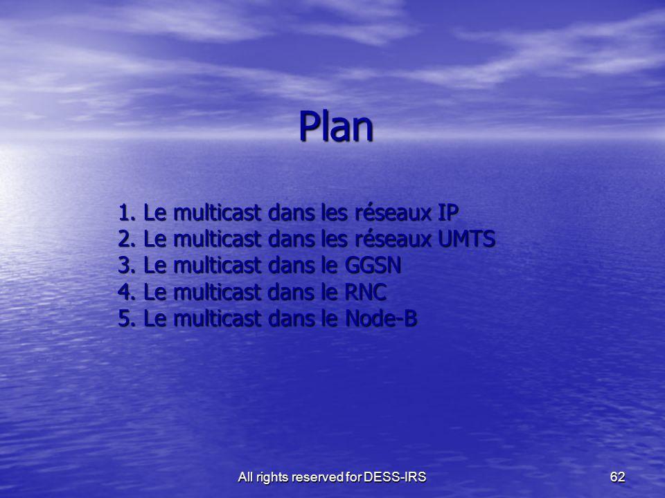 All rights reserved for DESS-IRS62 Plan 1. Le multicast dans les réseaux IP 2. Le multicast dans les réseaux UMTS 3. Le multicast dans le GGSN 4. Le m