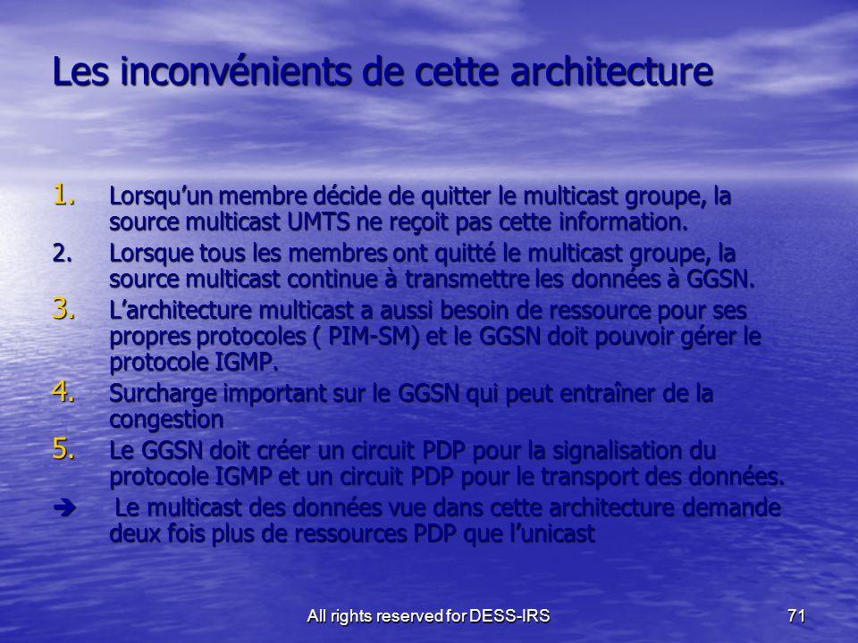 All rights reserved for DESS-IRS71 Les inconvénients de cette architecture 1. Lorsqu'un membre décide de quitter le multicast groupe, la source multic