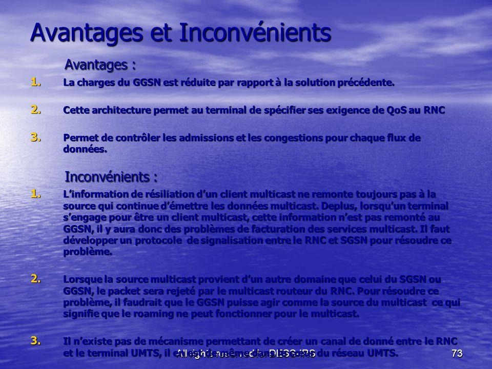 All rights reserved for DESS-IRS73 Avantages et Inconvénients Avantages : Avantages : 1. La charges du GGSN est réduite par rapport à la solution préc