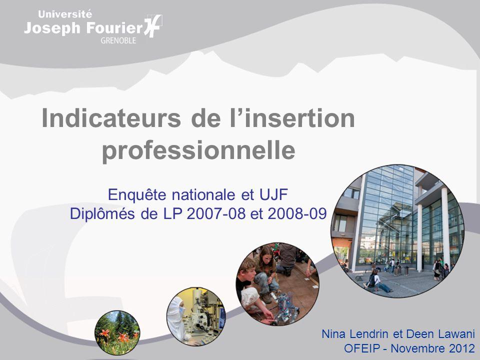 Indicateurs de l'insertion professionnelle Enquête nationale et UJF Diplômés de LP 2007-08 et 2008-09 Nina Lendrin et Deen Lawani OFEIP - Novembre 2012