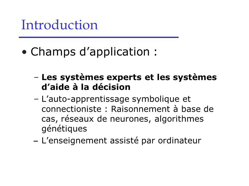 Champs d'application : –Les systèmes experts et les systèmes d'aide à la décision –L'auto-apprentissage symbolique et connectioniste : Raisonnement à