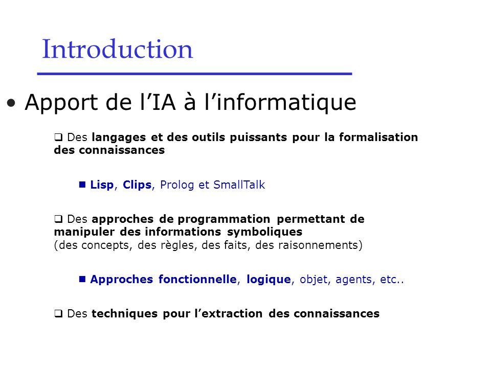 Apport de l'IA à l'informatique Introduction  Des langages et des outils puissants pour la formalisation des connaissances Lisp, Clips, Prolog et Sma