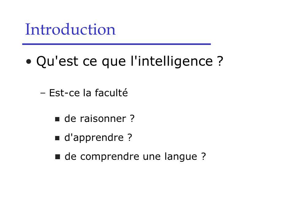 Qu'est ce que l'intelligence ? –Est-ce la faculté de raisonner ? d'apprendre ? de comprendre une langue ? Introduction