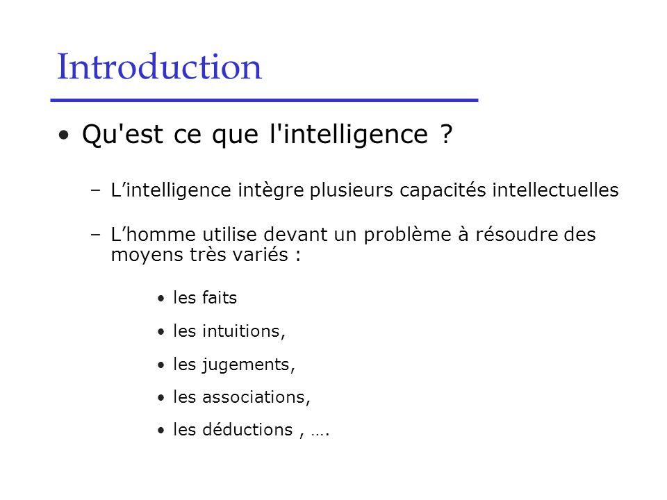 Qu'est ce que l'intelligence ? –L'intelligence intègre plusieurs capacités intellectuelles –L'homme utilise devant un problème à résoudre des moyens t