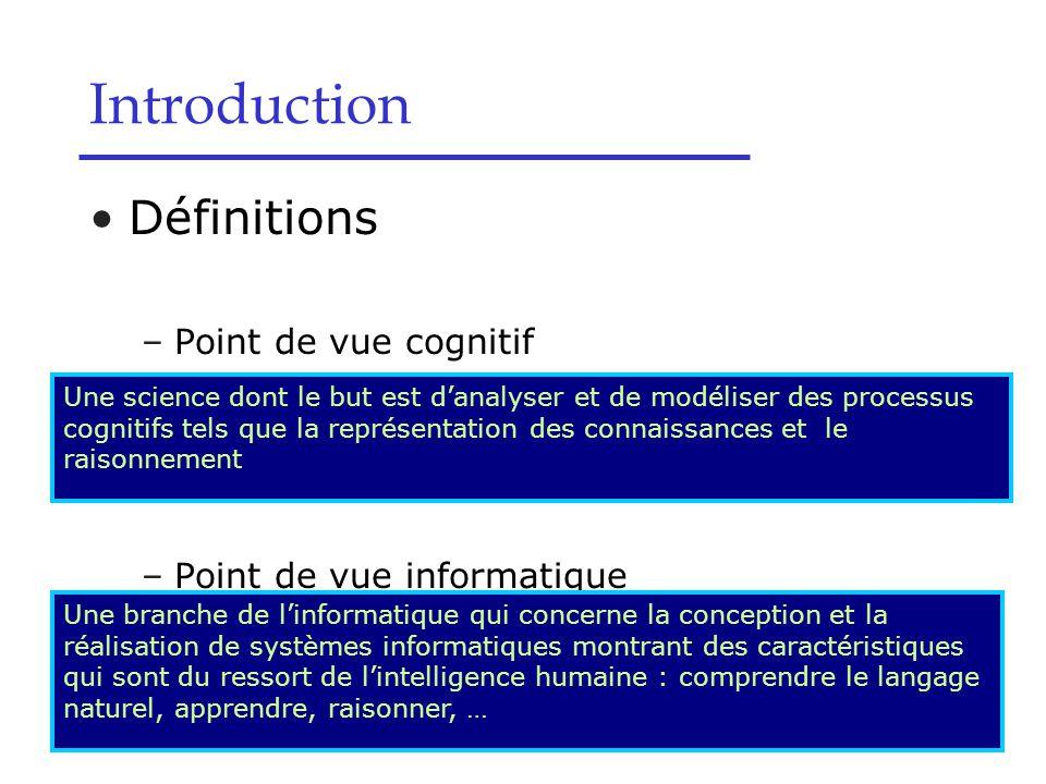 Définitions –Point de vue cognitif –Point de vue informatique Introduction Une science dont le but est d'analyser et de modéliser des processus cognit