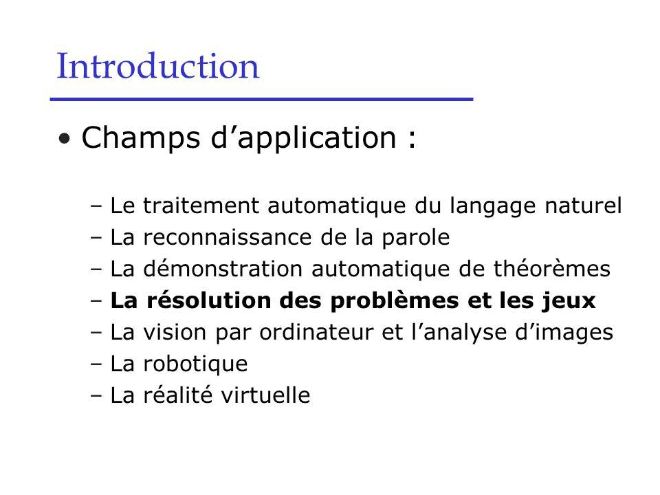 Champs d'application : –Le traitement automatique du langage naturel –La reconnaissance de la parole –La démonstration automatique de théorèmes –La ré