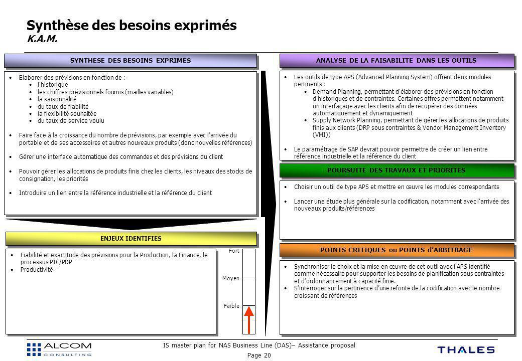 IS master plan for NAS Business Line (DAS)– Assistance proposal Page 20 Synthèse des besoins exprimés K.A.M.