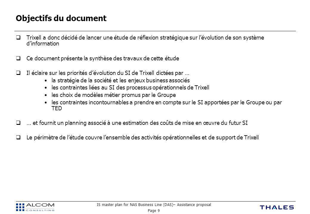 IS master plan for NAS Business Line (DAS)– Assistance proposal Page 30 Synthèse des coûts