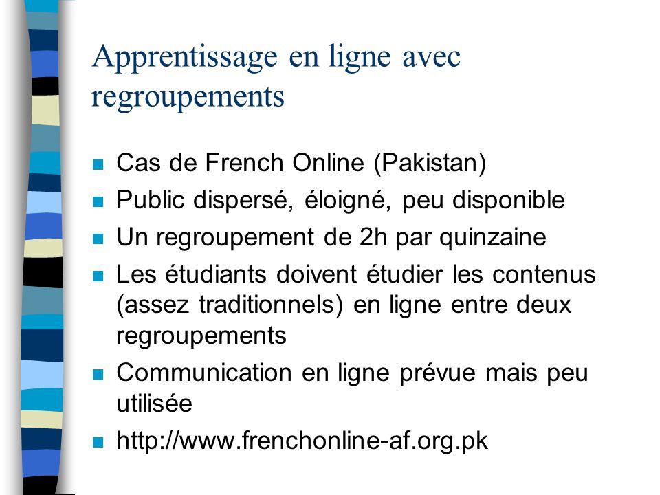 Apprentissage en ligne avec regroupements n Cas de French Online (Pakistan) n Public dispersé, éloigné, peu disponible n Un regroupement de 2h par qui