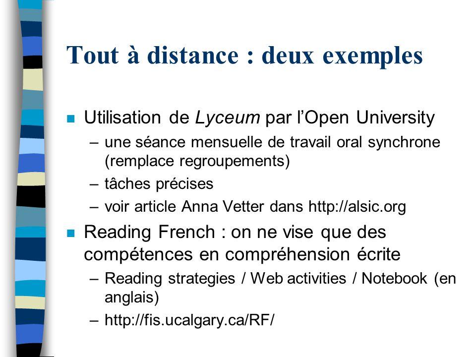 Tout à distance : deux exemples n Utilisation de Lyceum par l'Open University –une séance mensuelle de travail oral synchrone (remplace regroupements)