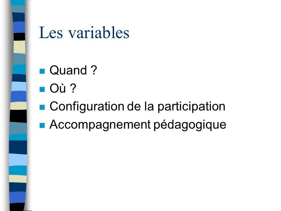 Les variables n Quand ? n Où ? n Configuration de la participation n Accompagnement pédagogique