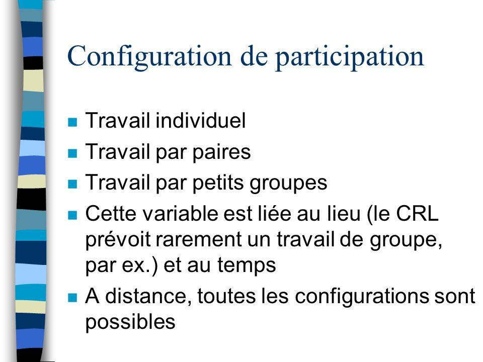 Configuration de participation n Travail individuel n Travail par paires n Travail par petits groupes n Cette variable est liée au lieu (le CRL prévoi