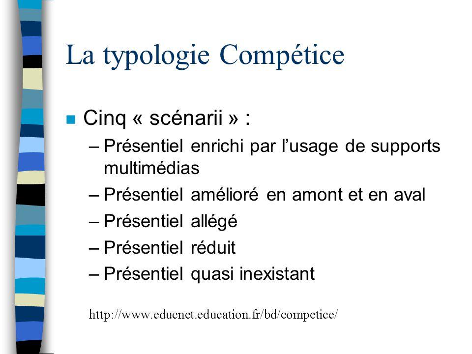 La typologie Compétice n Cinq « scénarii » : –Présentiel enrichi par l'usage de supports multimédias –Présentiel amélioré en amont et en aval –Présent
