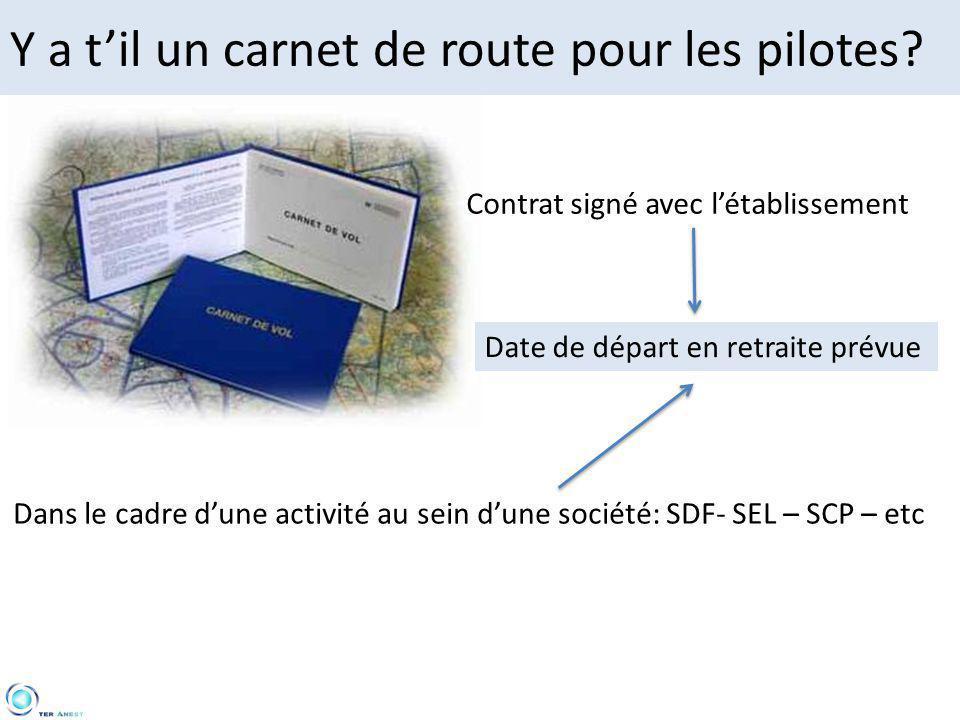 Y a t'il un carnet de route pour les pilotes? Contrat signé avec l'établissement Date de départ en retraite prévue Dans le cadre d'une activité au sei