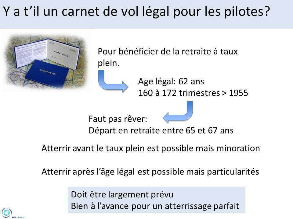 Y a t'il un carnet de vol légal pour les pilotes? Pour bénéficier de la retraite à taux plein. Age légal: 62 ans 160 à 172 trimestres > 1955 Faut pas