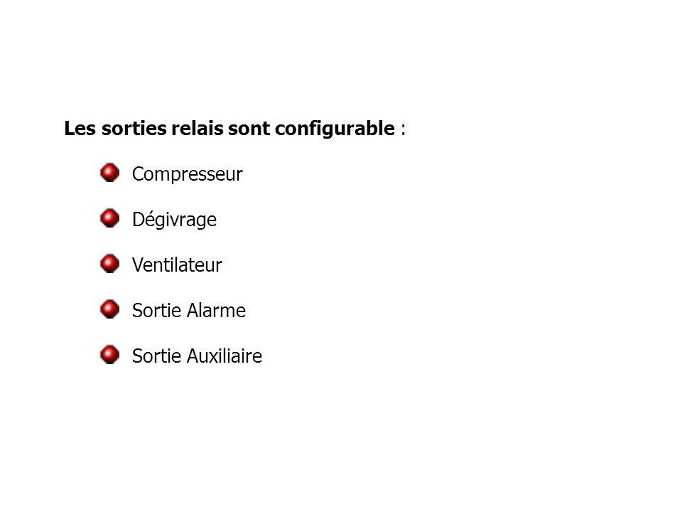 Les sorties relais sont configurable : Compresseur Dégivrage Ventilateur Sortie Alarme Sortie Auxiliaire